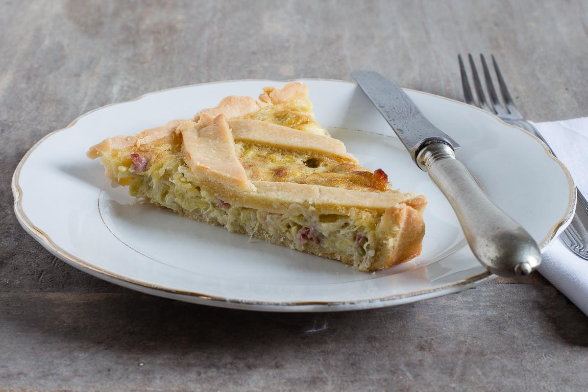 Crostata salata con Porri, pancetta e crème fraiche_Posate Spaiate