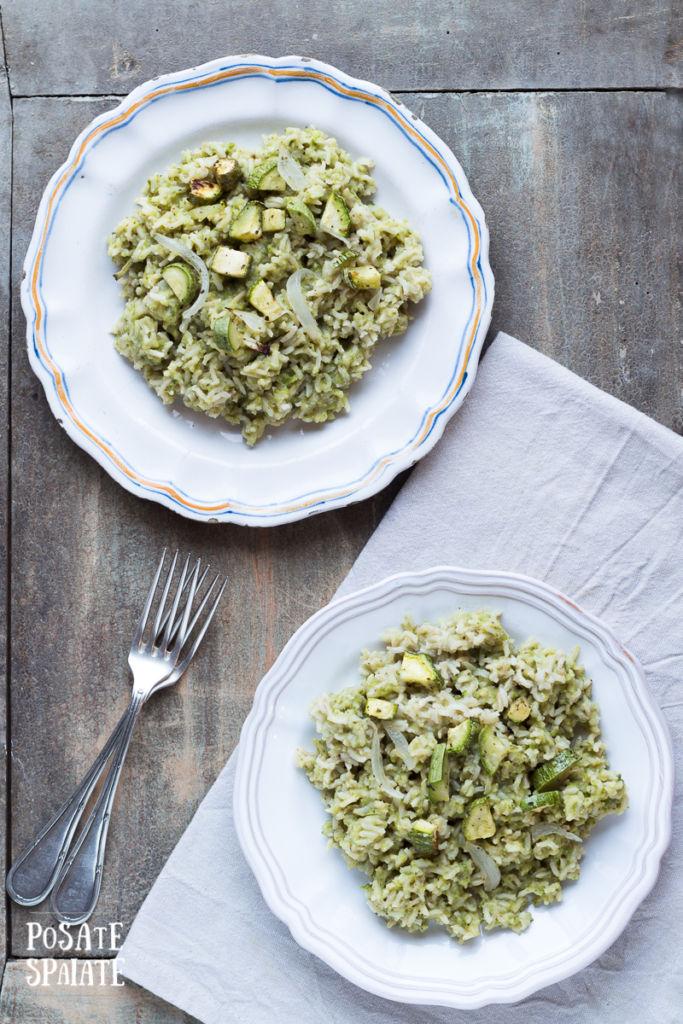 Riso integrale con crema di zucchine e basilico_Posate Spaiate