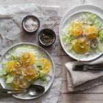 Insalata di arance e finocchi, con il sale aromatizzato alla scorza di arance.