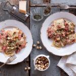 Ravioli di topinambur, con pancetta, nocciole e timo {con farina di farro}